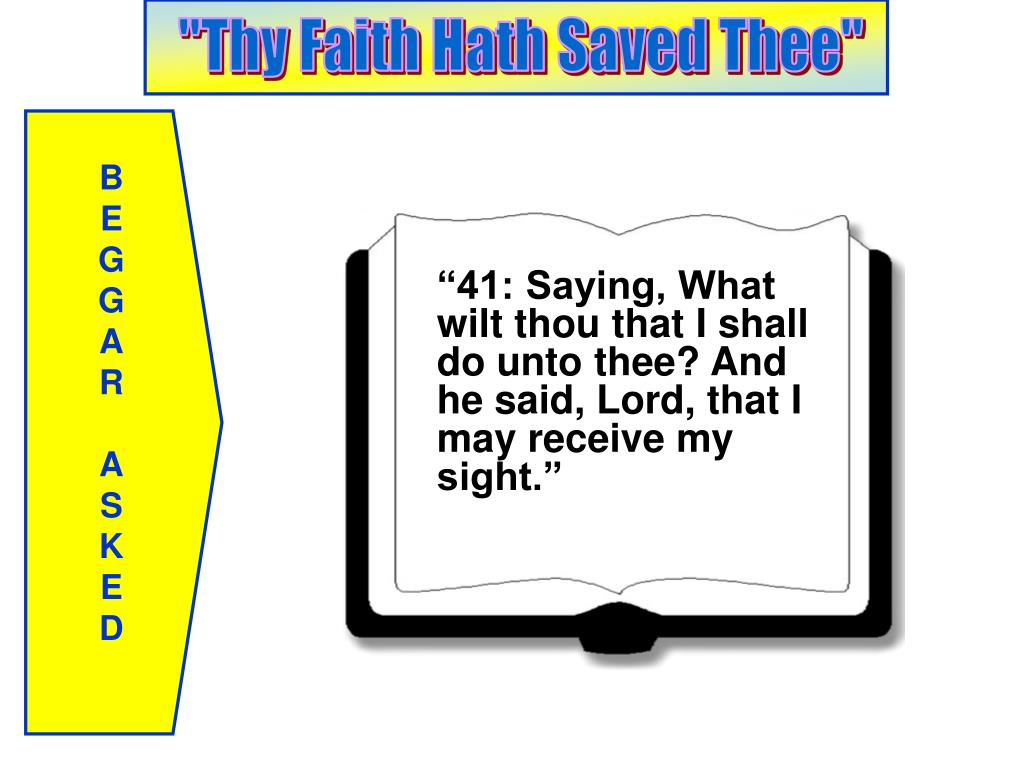 """41: Saying, What wilt thou that I shall do unto thee? And he said, Lord, that I may receive my sight."""