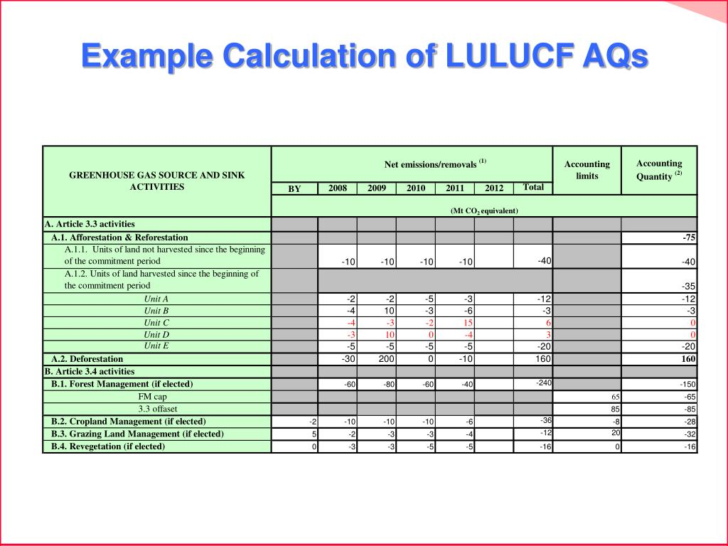 Example Calculation of LULUCF AQs