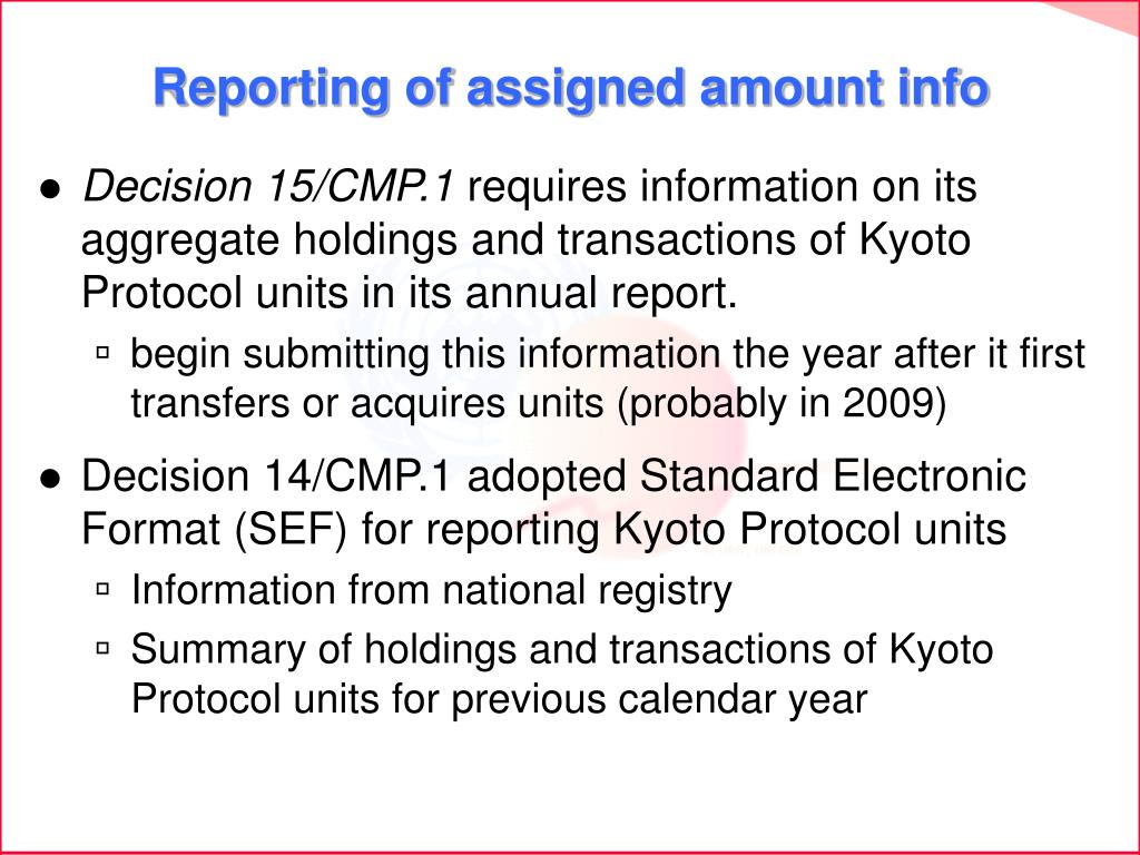 Reporting of assigned amount info