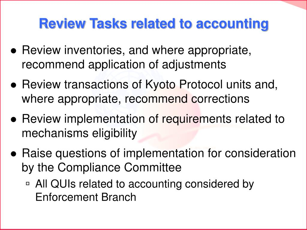 Review Tasks related to accounting