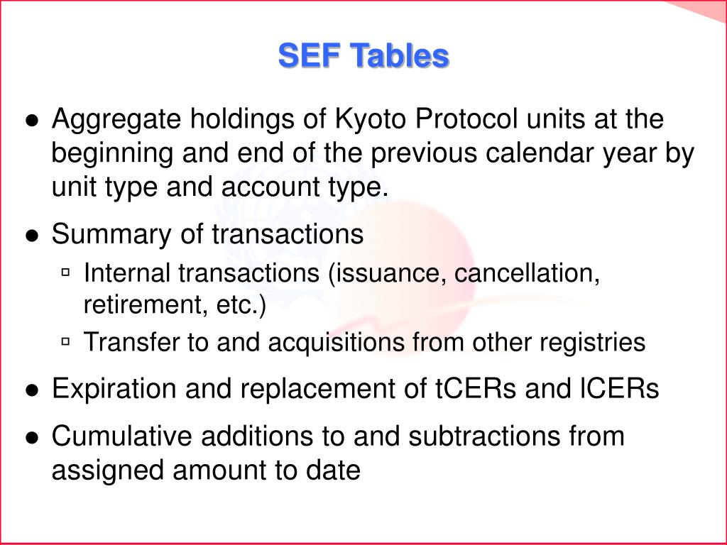 SEF Tables