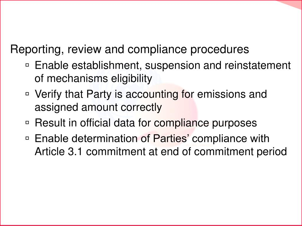 Reporting, review and compliance procedures