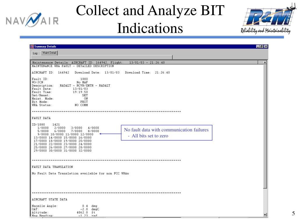 Collect and Analyze BIT Indications