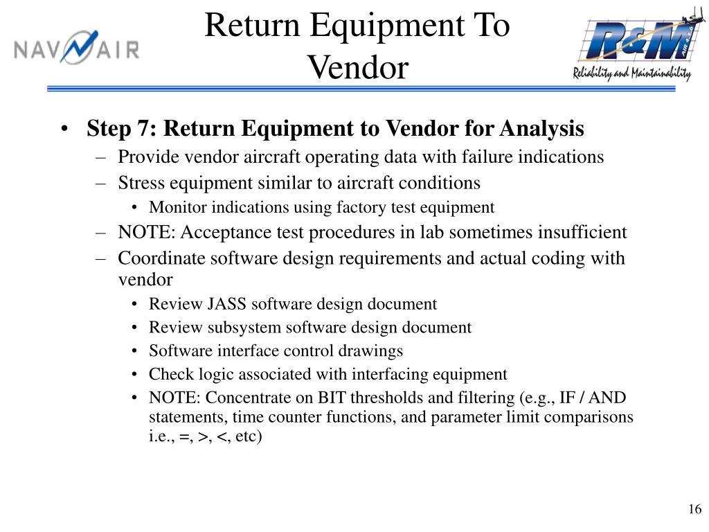Return Equipment To Vendor