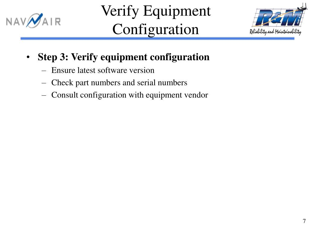 Verify Equipment Configuration
