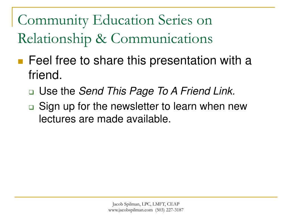 Community Education Series on Relationship & Communications