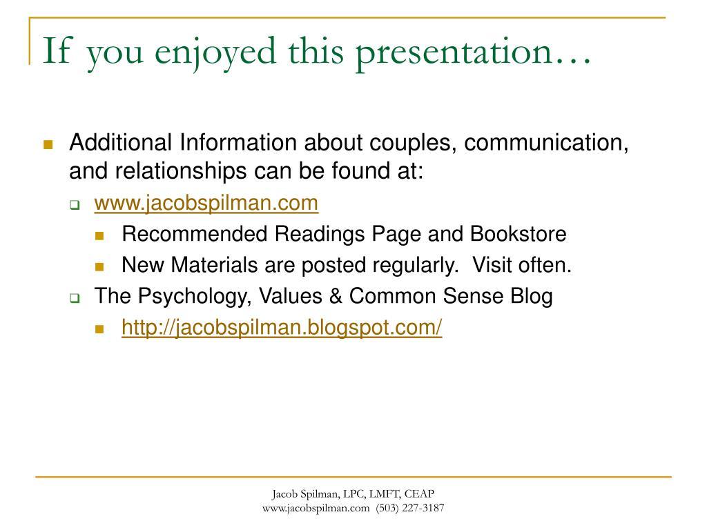 If you enjoyed this presentation…