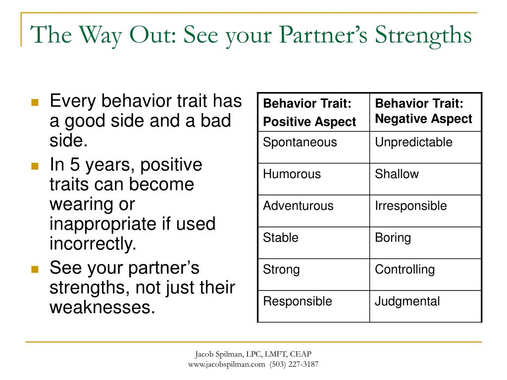The Way Out: See your Partner's Strengths