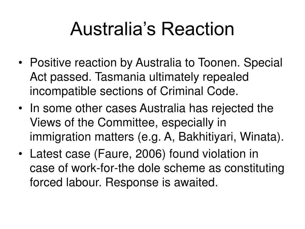 Australia's Reaction