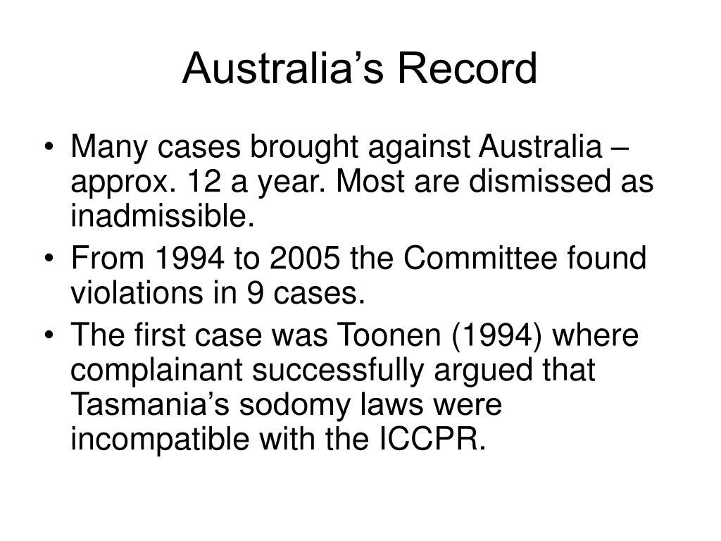 Australia's Record