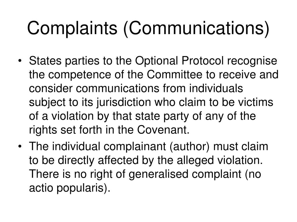 Complaints (Communications)