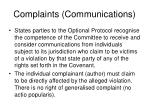 complaints communications