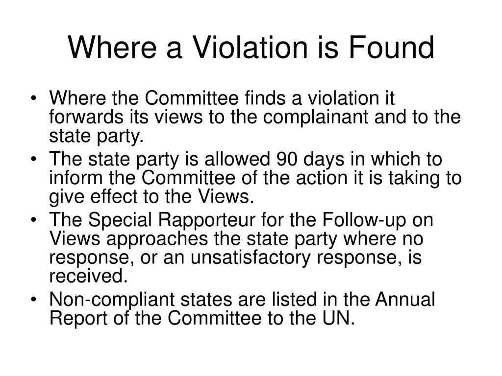 Where a Violation is Found