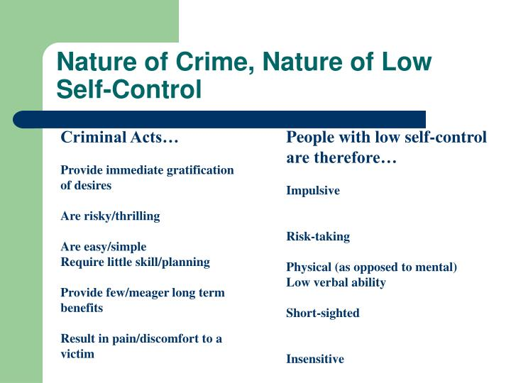 Nature of Crime, Nature of Low Self-Control