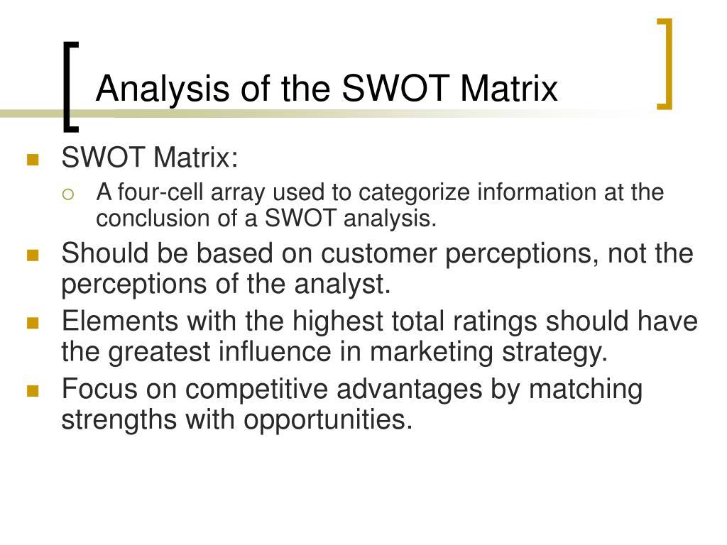 Analysis of the SWOT Matrix