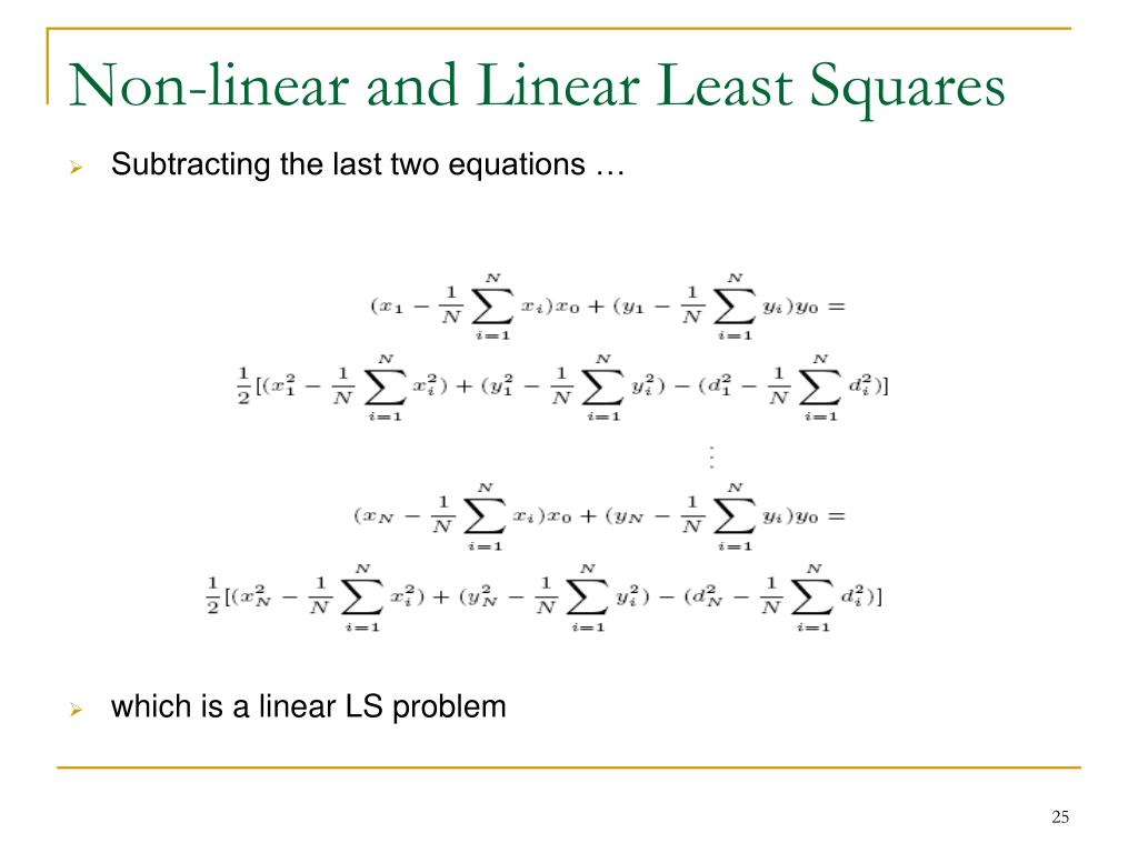 Non-linear and Linear Least Squares