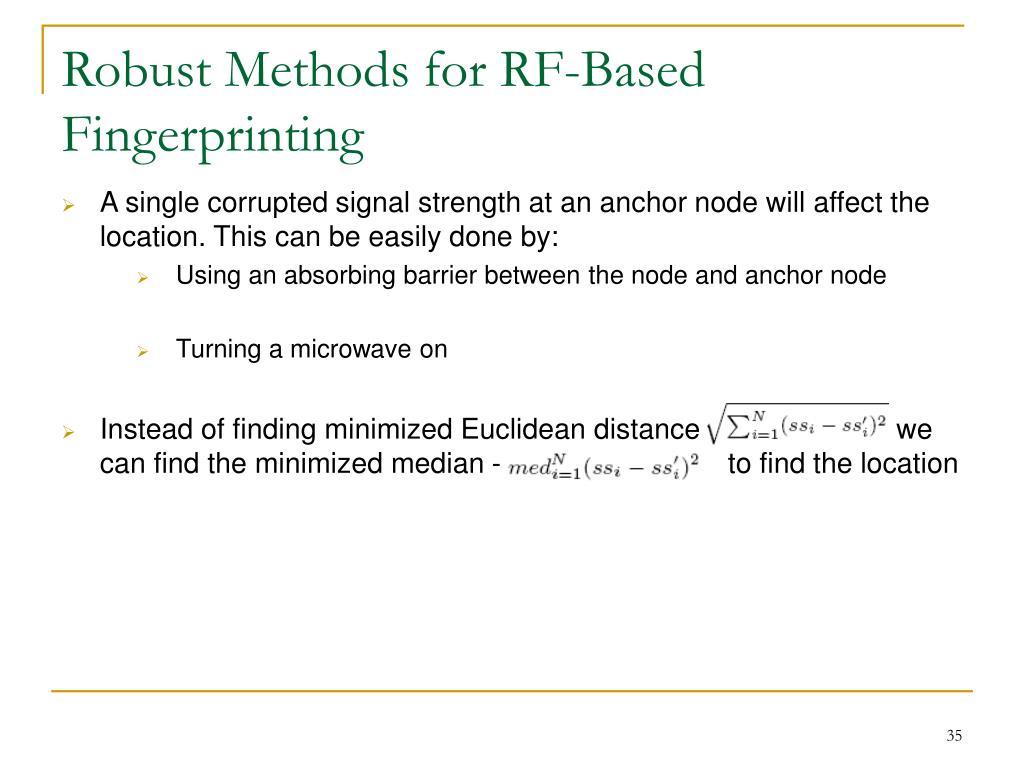 Robust Methods for RF-Based Fingerprinting