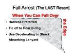 fall arrest the last resort