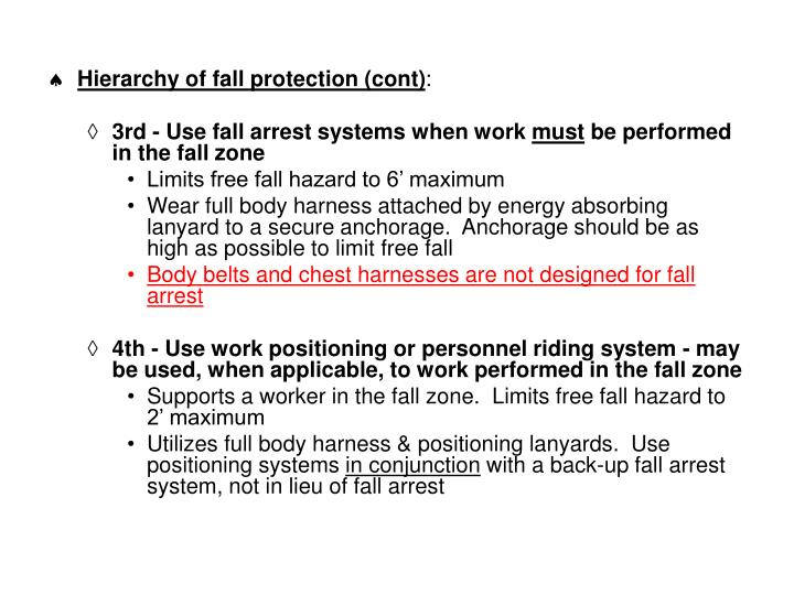 Hierarchy of fall protection (cont)