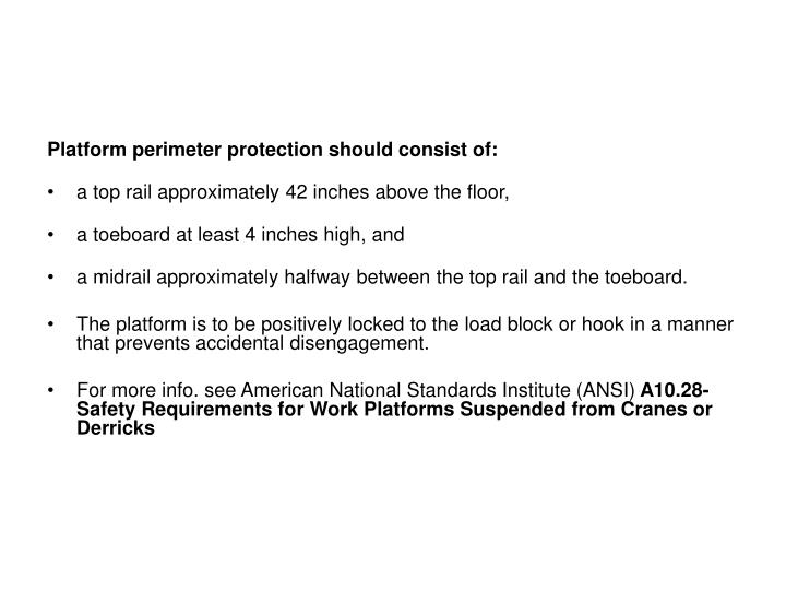 Platform perimeter protection should consist of: