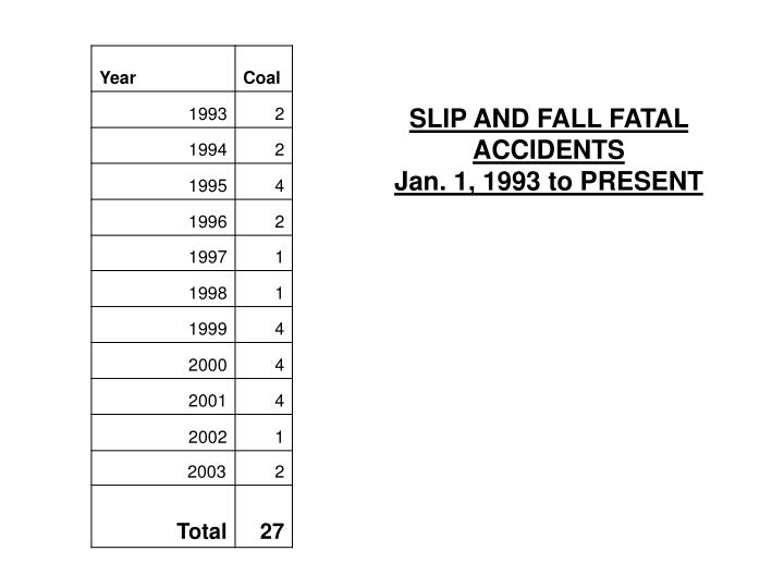 SLIP AND FALL FATAL ACCIDENTS