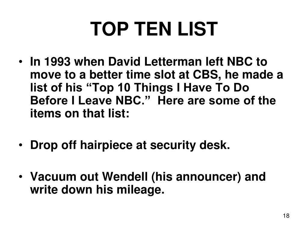 TOP TEN LIST