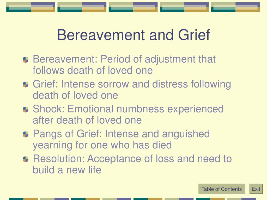 Bereavement and Grief