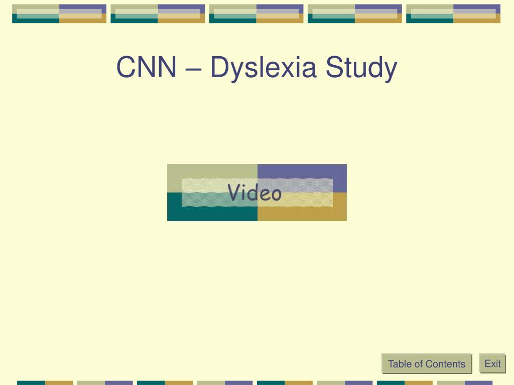 CNN – Dyslexia Study