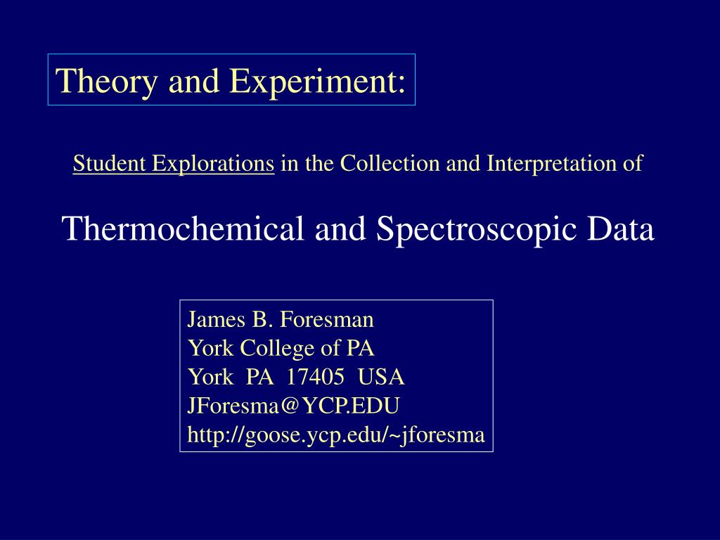 Theory and Experiment:
