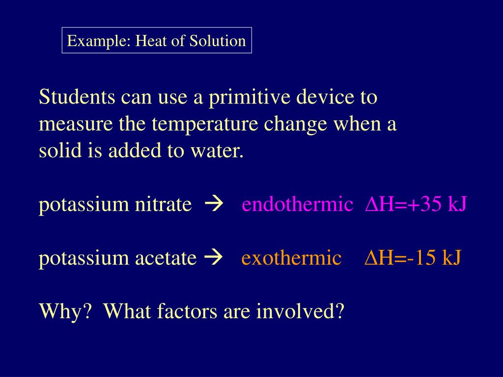 Example: Heat of Solution