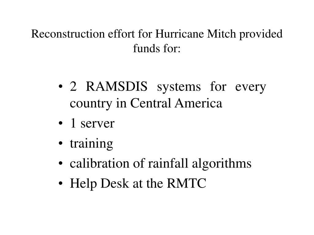 Reconstruction effort for Hurricane Mitch provided funds for: