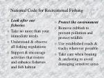 national code for recreational fishing