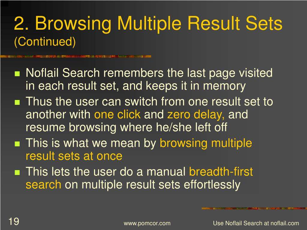 2. Browsing Multiple Result Sets