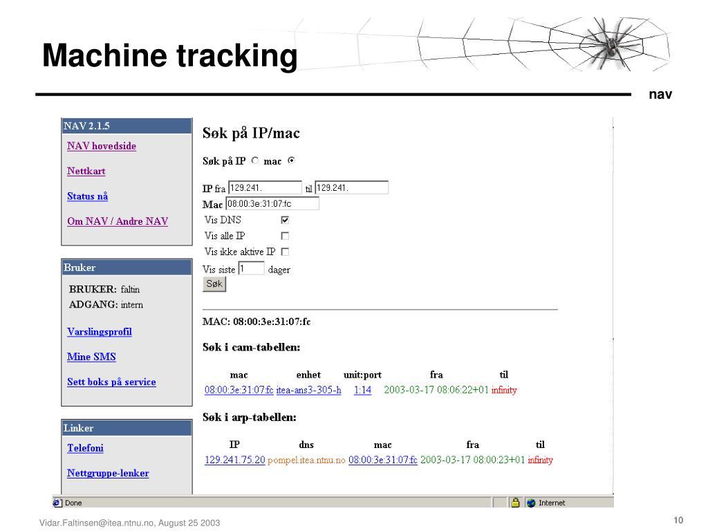 Machine tracking