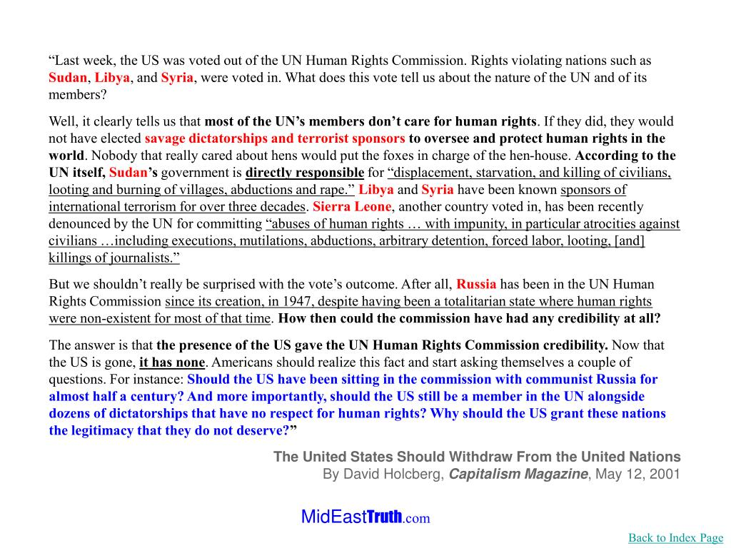 """""""Last week, the US was voted out of the UN Human Rights Commission. Rights violating nations such as"""