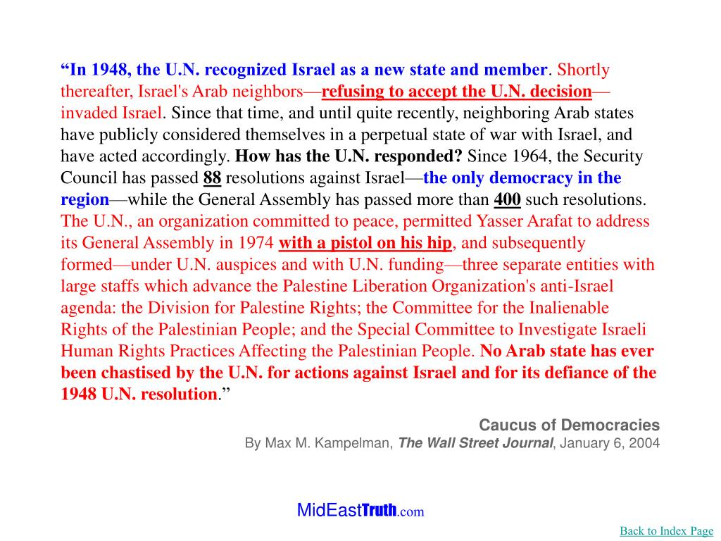 """""""In 1948, the U.N. recognized Israel as a new state and member"""