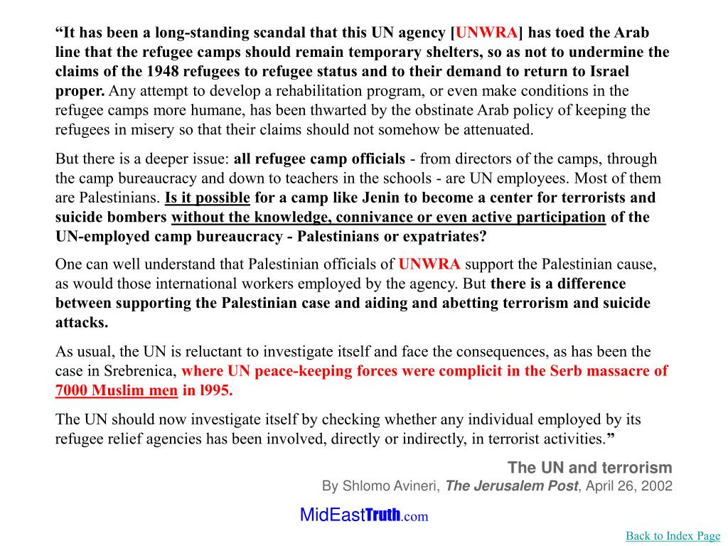 """""""It has been a long-standing scandal that this UN agency ["""