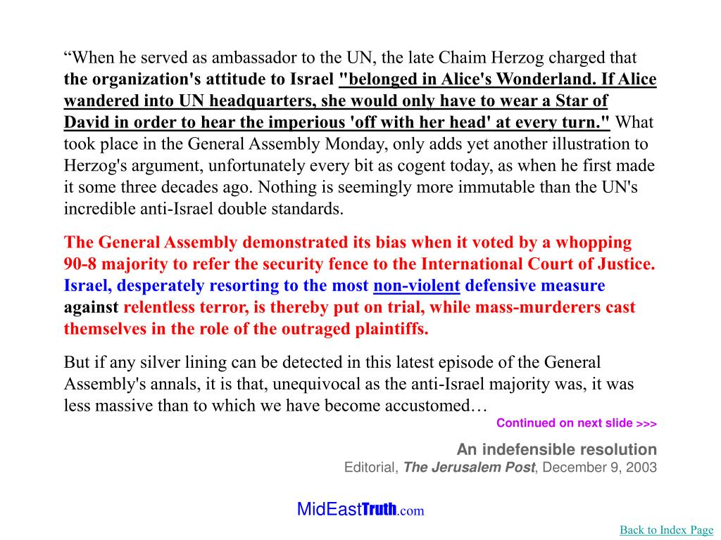 """""""When he served as ambassador to the UN, the late Chaim Herzog charged that"""