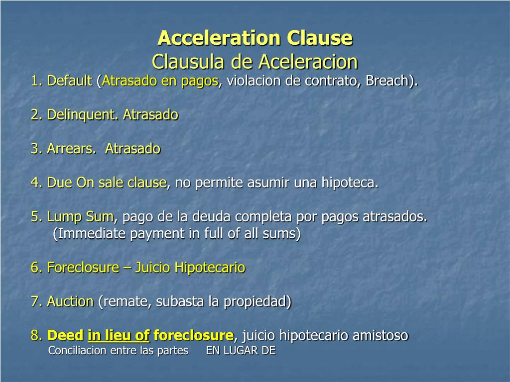 Acceleration Clause