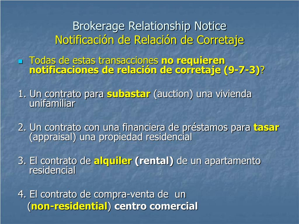 Brokerage Relationship Notice