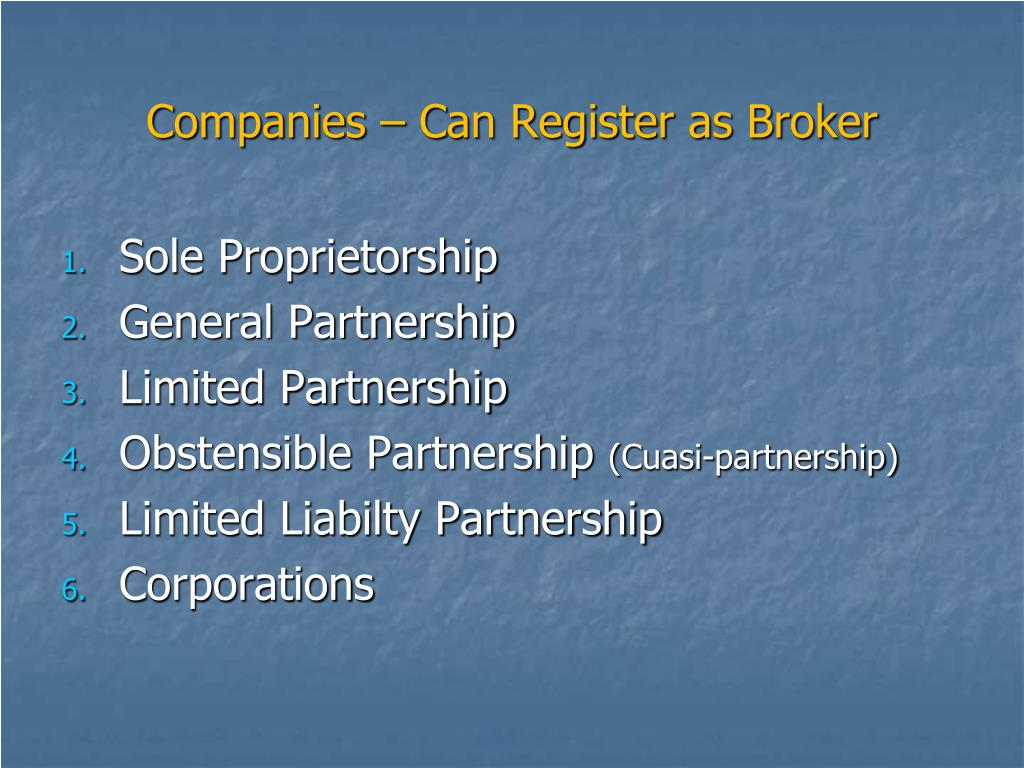 Companies – Can Register as Broker
