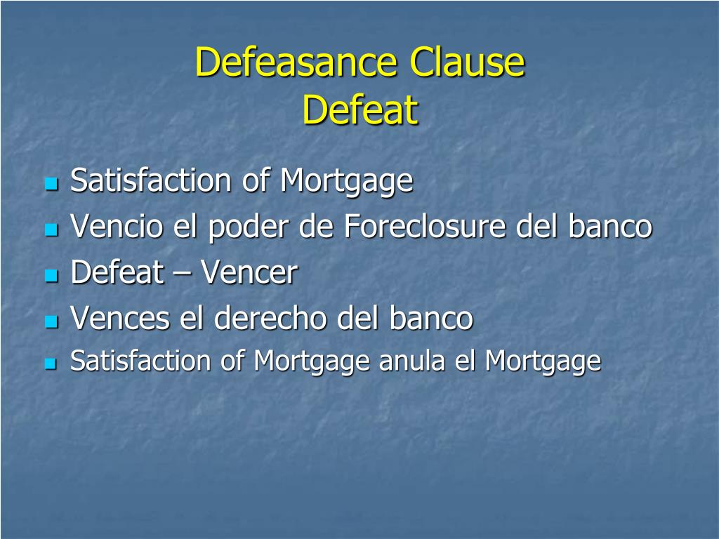 Defeasance Clause