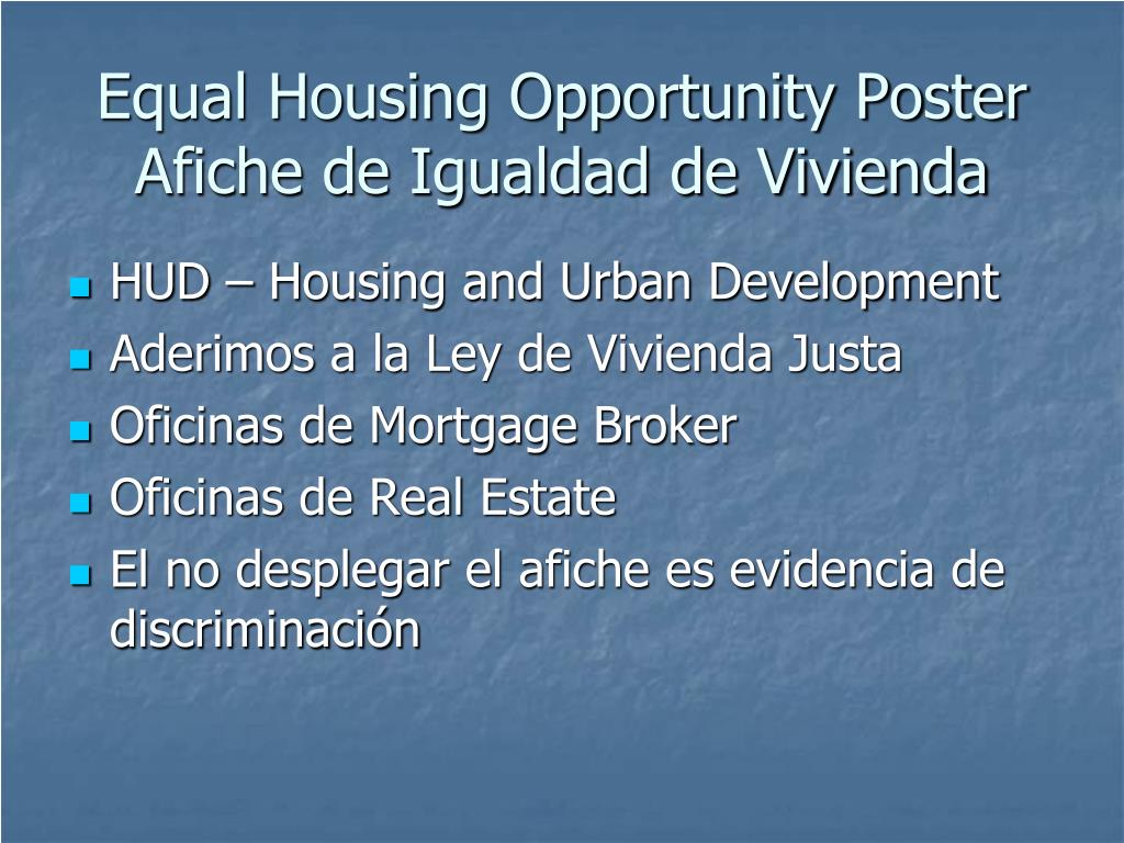 Equal Housing Opportunity Poster