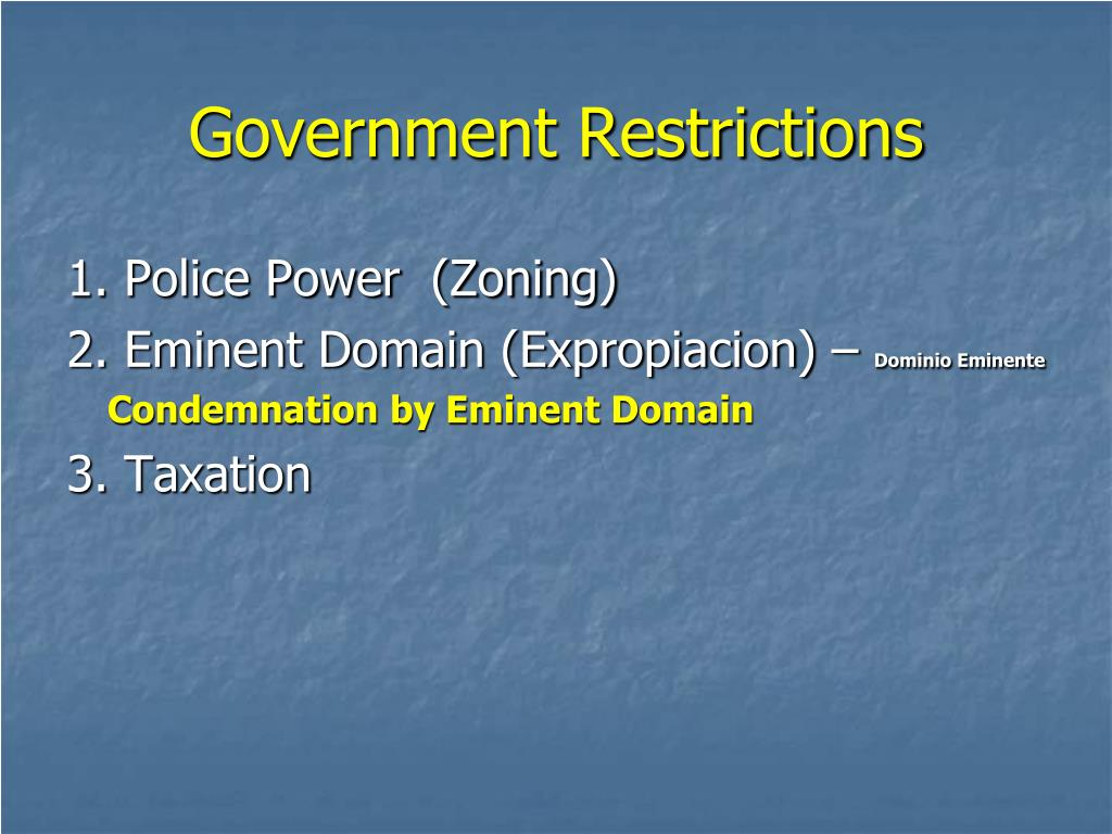 Government Restrictions