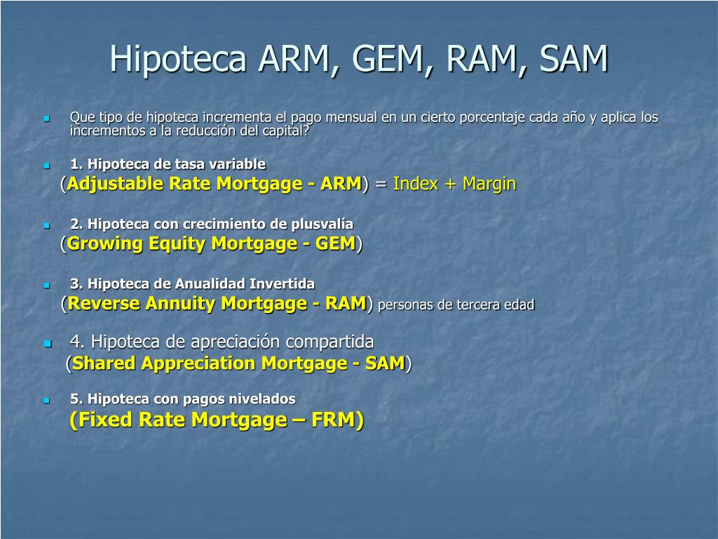 Hipoteca ARM, GEM, RAM, SAM
