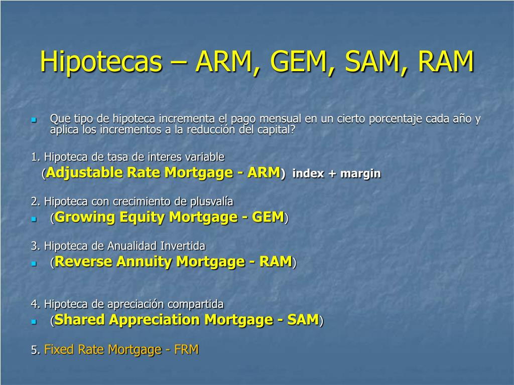 Hipotecas – ARM, GEM, SAM, RAM