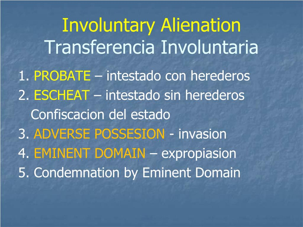 Involuntary Alienation