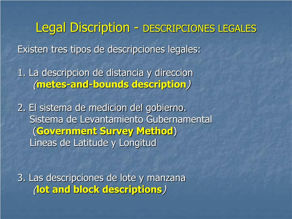 Legal Discription -