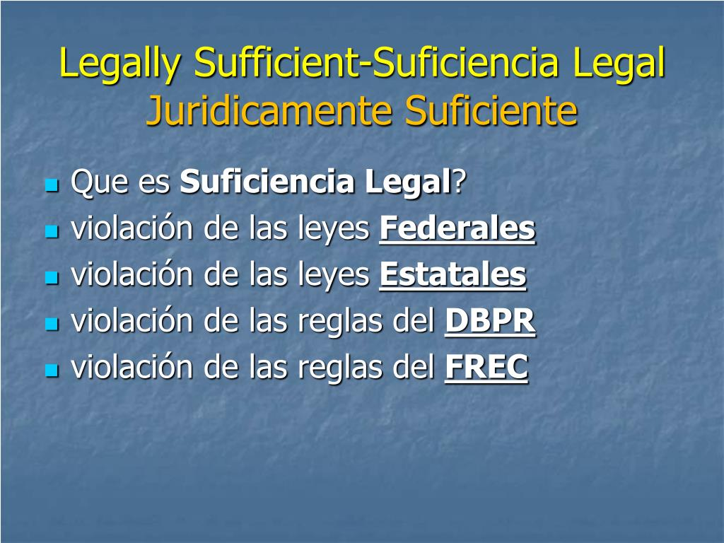 Legally Sufficient-Suficiencia Legal