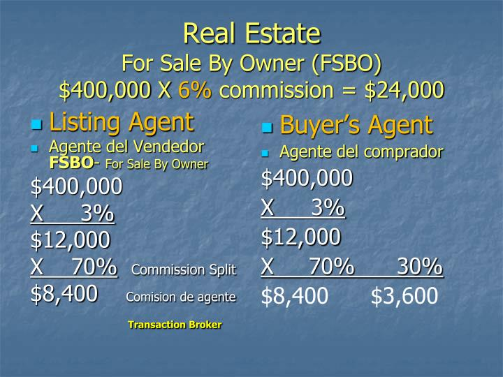 Real estate for sale by owner fsbo 400 000 x 6 commission 24 000